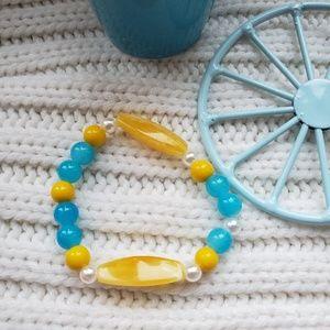 Handmade yellow and blue bracelet